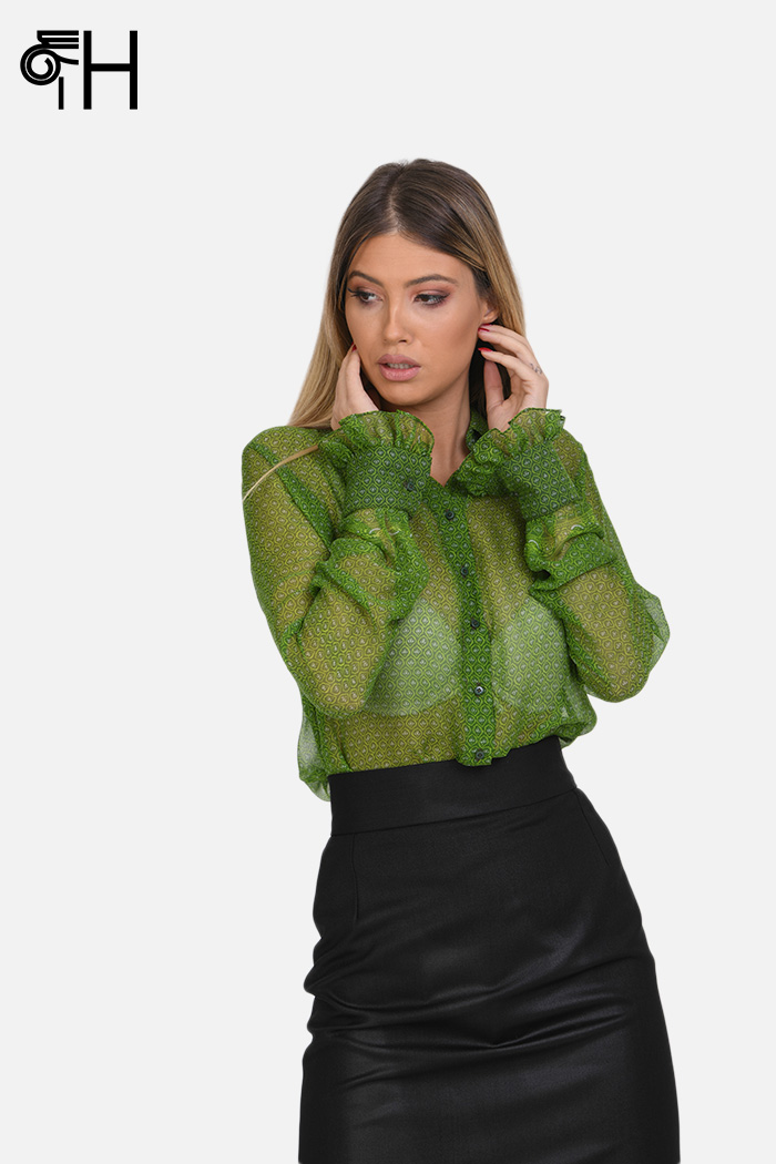 Zelena svilena košulja