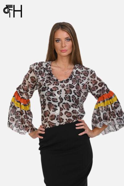 Leopard košulja sa karner rukavom