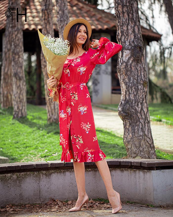 Armani saten cvetna haljina
